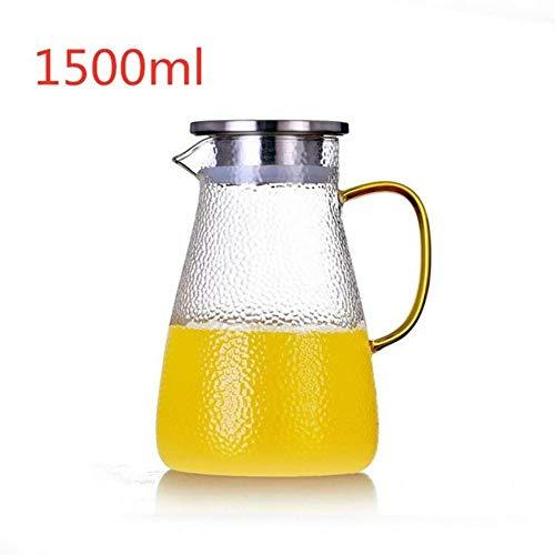 2L Concise glas water Nordic Jar sap limonade kruik bloem theepot warm- / koud water kan hittebestendig transparant glas theepot