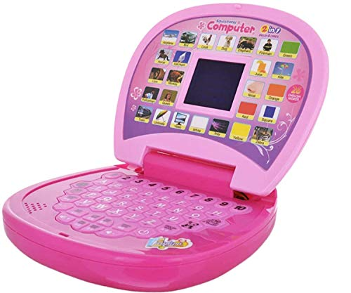 BAIYIN Educational Computer ABC and 123 Learning Kids Laptop with LED Display and Music (Pink)