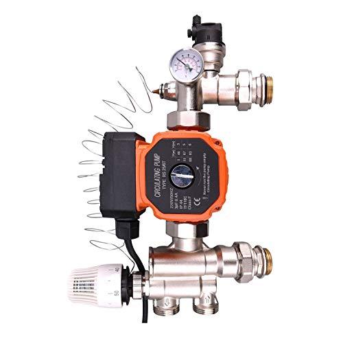 Grupo bombeo calefacción bomba recirculacion calefaccion colector suelo radiante con valvula alivio presion seguridad cabeza termostatica termometro recirculacion agua caliente