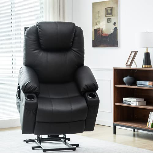Esright Electric Power Lift Chair Recliner Sofa for Elderly with Vibration Massage and Lumbar Heated, 3 Positions, 2 Side Pockets and Cup Holders, USB Ports, Convenient Remote Control