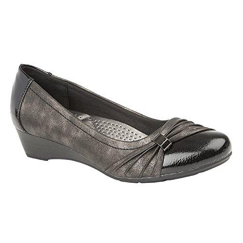 Boulevard - Zapato de salón Acolchado y cómodo para Mujer señora (37 EU) (Patente Negro/Metalizado)