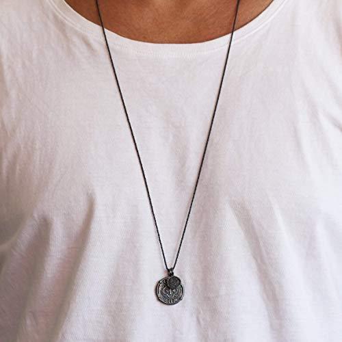 Carpe Diem Black Silver Mens Coin Necklace