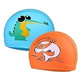 2 Pezzi Cuffia Piscina per Bambini - Cuffia da Nuoto per Bimbi Comodo cappello da nuoto Elastico e Traspirante Unisex Ragazzi Ragazze per età 6-10