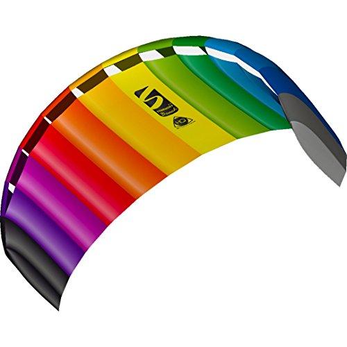 HQ 11768450 - Symphony Beach III 2.2 Rainbow, Zweileiner Lenkmatten, ab 14 Jahren, 73x220cm, inkl. 100 kp Dyneemaschnüre 2x25m auf Winder mit Schlaufen, 2-6 Beaufort