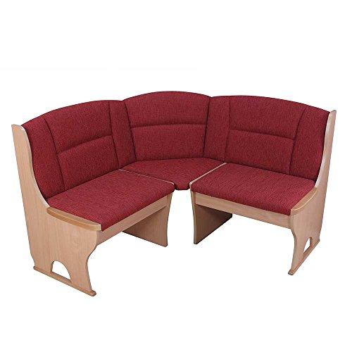 Pharao24 Eck Truhenbank in Orange und Buche Stoff Breite 125 cm Ohne 4 Sitzplätze