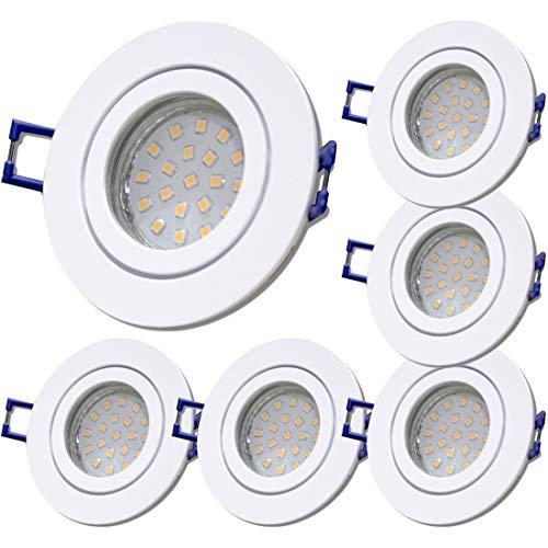 LED Bad Einbaustrahler 230V inkl. 6 x 5W SMD Modul Dimmbar Farbe Weiß IP44 Deckenspots Neptun Rund 3000K Warmweiß