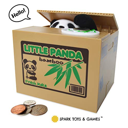 Panda Piggy Bank for Kids - Coin Stealing Mechanical Piggy Bank has a Cute Little Panda Bear inside the Bamboo Money Box who Pops Up and Steals Coins like Magic - Fun for Kids of All Ages