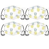 Pineapple 4 máscaras de tela multiusos para adultos, lavables, reutilizables y ajustables con 0 filtros