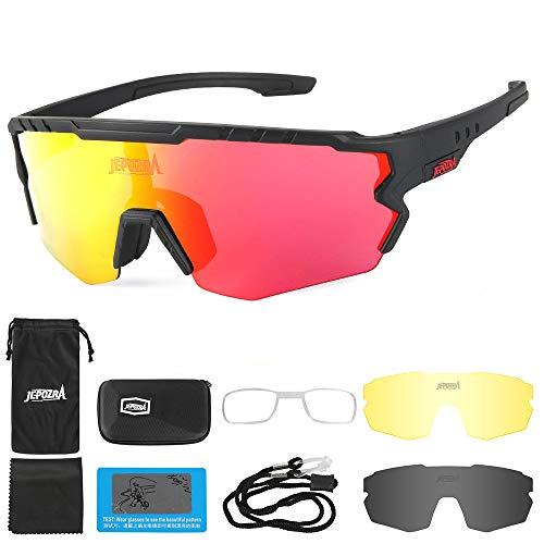 JYH Gafas de Sol Deportivas polarizadas con 3 Lentes Intercambiables Gafas Protectoras UV400 Lentes Intercambiables para Ciclismo, esquí, Carrera,Blackred
