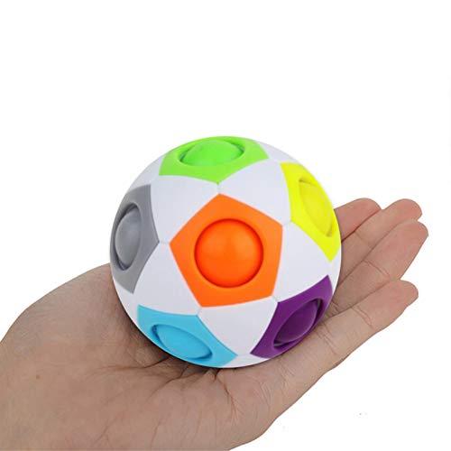 Regenbogenball, Magic Ball Regenbogen Ball Zauberwürfel 3D Puzzle Ball, Stressball Knobelspiel Kinder Speed Cube Würfel Zauberwürfel Spielzeug Fidget Kugel Stresslöser für Kinder Erwachsene (1 Stuck)