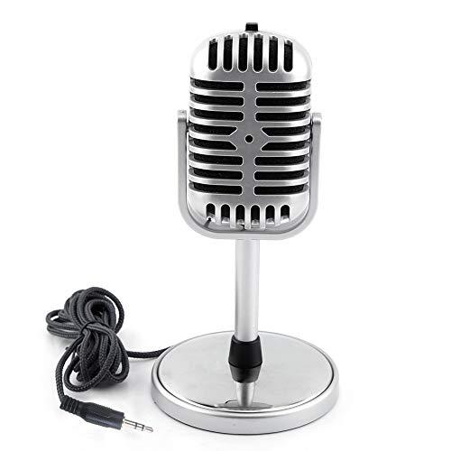 Micrófono Retro - Micrófono estéreo dinámico de Estilo Retro clásico con Cable de Audio de 3,5 mm para PC portátil