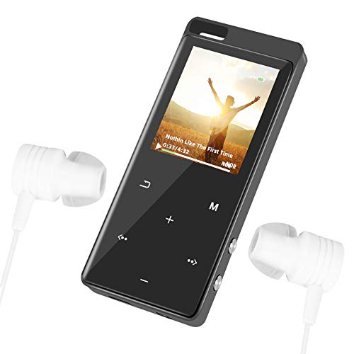 MP3/MP4 Player with Backlit Touch-Button and Bluetooth4.2, Hi-Fi Music Player with Speaker and FM Radio, Portable Video Player for eBook Reading, Voice Recording, 16 GB, Black (Black)