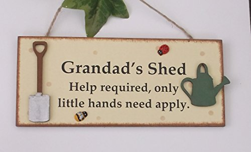 Grandad's Shed wooden gift plaque with Cute wooden tools detail