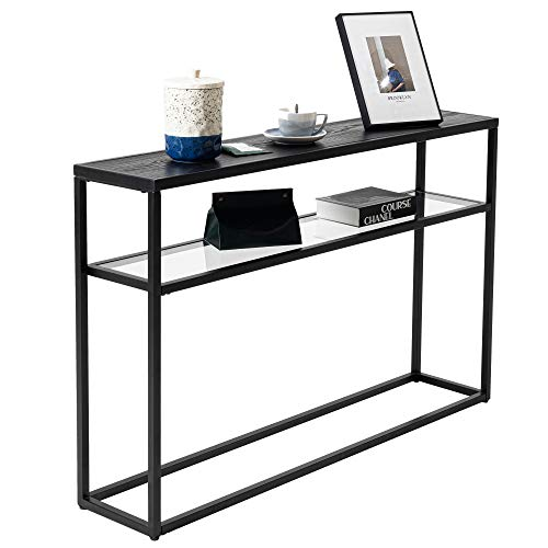 Hawoo Glass Sofa Console Table for Entryway,3-Tier Hallway Tables with Storage for Narrow Spaces,Modern Entry Tables for Foyer Living Room,48.25''(Black)