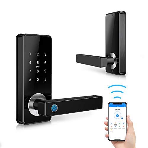 Tiffane Keyless Entry Door Lock with Touchscreen,Smart Fingerprint Door Lock,Biometric Door Lock Passcode WiFi Bluetooth Card Key for Office Home Apartment (Black)