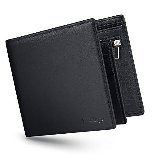 Herren Geldbeutel Geldbörse mit Münzfach und Sichtfenster | RFID Blocker Kreditkartenhalter Karten Portemonnaie Brieftasche Portmonee für Männer (XB-44 Schwarz)