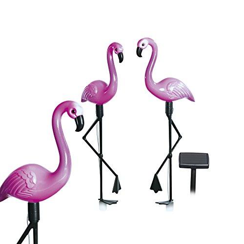 EASYmaxx 09383 Solar-Flamingos | 3er-Set, mit Solar-Panel | für Balkon, Terasse und Garten