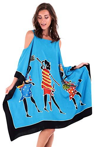 SHU-SHI - Damen Kaftan-Kleid im Poncho-Stil - Cut-Outs an den Schultern - kurz - zum Tragen über Badekleidung - handbemaltes Tribal-Design - Übergröße - Frauenmotiv - Türkis