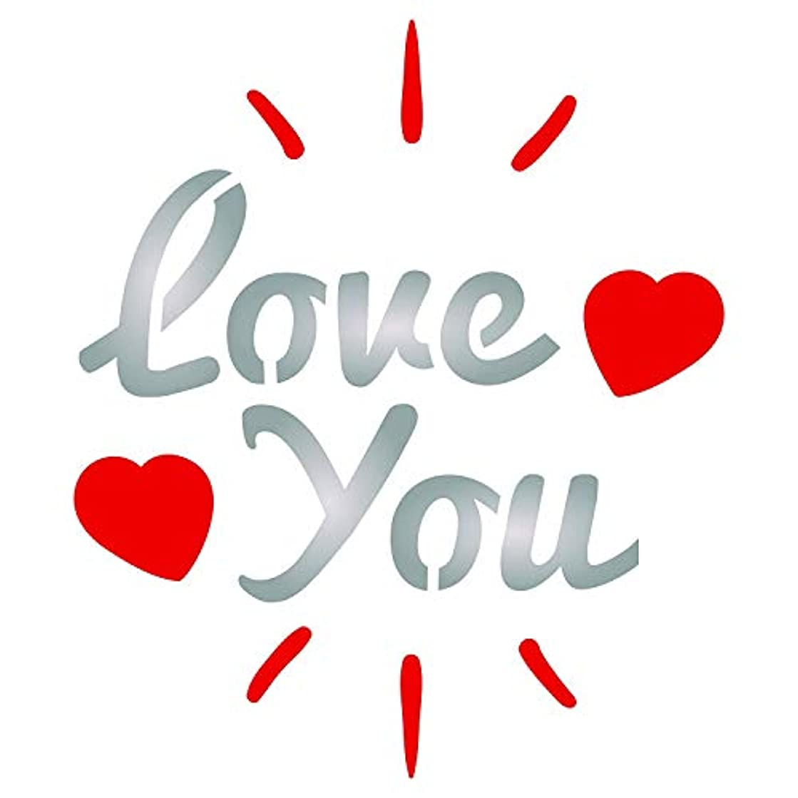 Love You Stencil - 4.5 x 5.25 inch (M) - Reusable Valentines Day Saying Quote Love Wall Stencil Template - Use On Paper Projects Scrapbook Journal Walls Floors Fabric Furniture Glass Wood Etc.