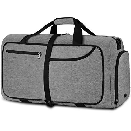 NEWHEY Reisetasche Groß 40L Faltbare Reisetaschen Leichte Sporttasche für männer mit Schuhfach für Weekender Herren Damen Duffel Taschen (Grau-40L)
