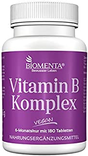 BIOMENTA Vitamin B-komplex - 8 viktiga B-vitaminer i höga doser - 180 veganska vitamin B-tabletter med 300% NRV vardera i ...