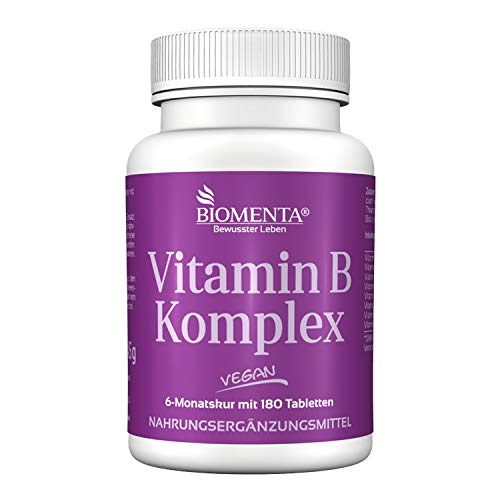 BIOMENTA Vitamin B Komplex – 8 essenzielle B Vitamine hochdosiert - 180 vegane Vitamin B Tabletten mir je 300{f08ada9e062a497fc4a91c04ba602007ff017d632ea4aab3d1981a485e1586f6} NRV für 6 Monate
