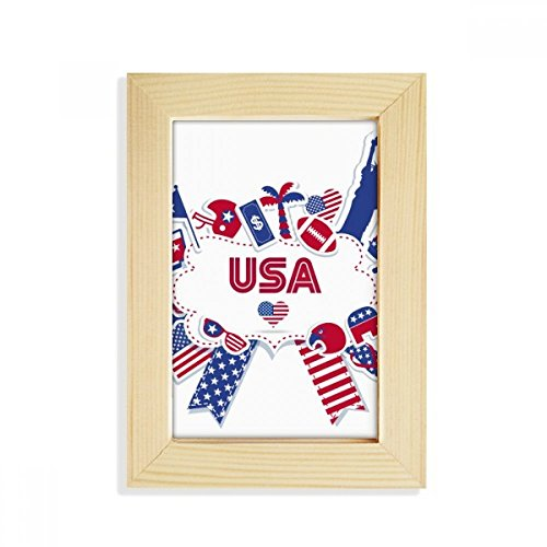 DIYthinker Usa Flagge Inde Kulli dence Tag Celebration Desktop-HÖlz-Bilderrahmen Fotokunst-Malerei Passt 10.2 x 15.2cm (4 x 6 Zoll) Bild Mehrfarbig