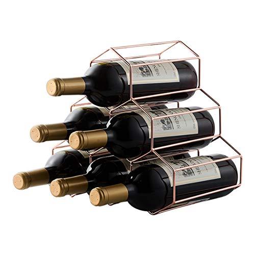 XYSQ 6 Flessen Metalen Wijnplank, Aanrechtblad Vrijstaande Wijnbewaarhouder, Ruimtebesparer Beschermer Voor Rode & Witte Wijnen - Rosegold