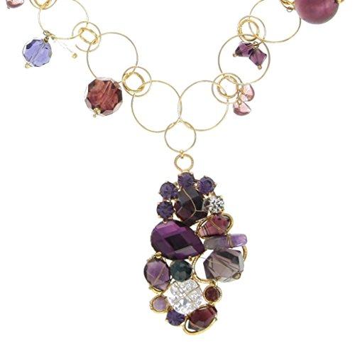 behave Donne Collana con Strass, Pietra Naturale e Perline lavorate Fatto di Rame - Viola - 60cm Dimensione