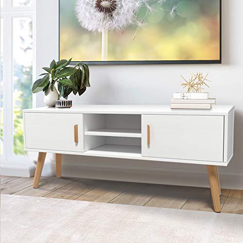 amzdeal TV Schrank Fernsehtisch für TV bis zu 55 Zoll, TV Board mit 2 Türen und 2 Regalen, Modern TV Möbel Lowboard Tisch für Wohnzimmer, Fernsehschrank Holz,112x43.5x30cm, Weiß