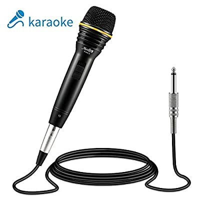 Moukey MWm-2 Dynamic Karaoke Microphone with 5M/16.40 ft XLR Cable, Metal Handheld Mic for Karaoke Singing, Speech, Wedding, Stage Outdoor Activity