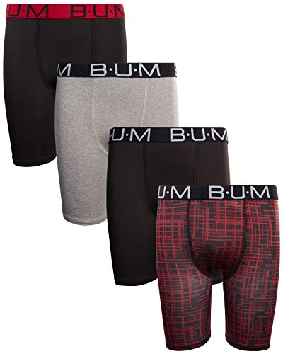 B.U.M. Equipment Boys? Performance Dry-Fit Compression Boxer Briefs (Pack of 4) (X-Large/(16-18), Black/Grey/Red Multi)
