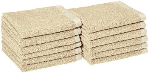 Amazon Basics Quick-Dry Washcloth - 100% Cotton, 12-Pack, Linen