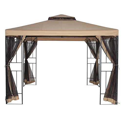 DoubleSun 10x10 Feet Gazebo with Mosquito Netting-Double Vented Top...