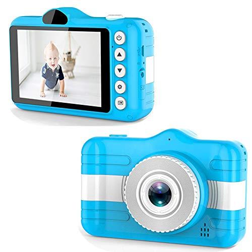 Kinder Kamera Digitalkamera Wiederaufladbare Fotoapparat Selfie Fotokamera Camcorder Mini stoßfeste Kamera mit Silikonhülle mit 8MP HD Doppellinse/32GB TF-Karte/3.5 Zoll Bildschirm,Blue