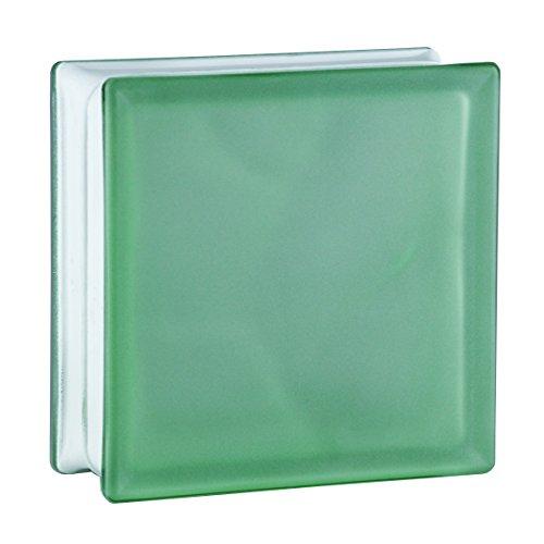 6 Stück BM Glassteine Wolke Grün 2-seitig satiniert (Milchglas) 19x19x8 cm
