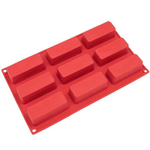 Freshware Silikon-Form, Soap-Form für Kuchen, Muffin, Brotlaib, Protein-Riegel, Energieriegel und Seife, Twinkie-Platz, 9-Hohlraum rot