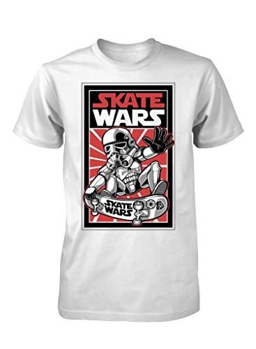 Ramgfx Skate Wars Storm Trooper Skater Funny STARAdult Kids Unisex T Shirt White