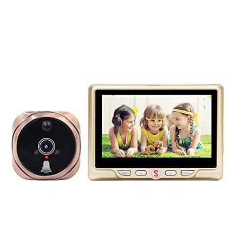 LANDUA Visor de cámara con Mirilla LCD de 4,3',Timbre de Puerta con detección de Movimiento de 120 Grados,Mirilla de vídeo con visión Nocturna (Color : Yellow)