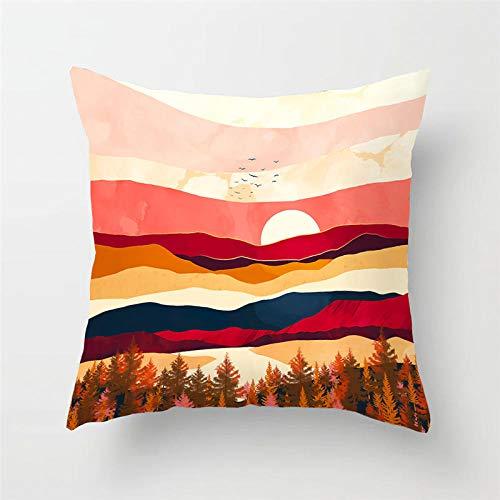 NOBRAND Funda de Almohada de montaña y Color cálido Funda de Almohada de algodón y Lino Suave Funda de cojín para sofá decoración del hogar-24
