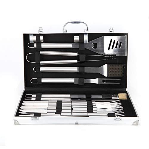 NANDAN 24 Stück BBQ-Werkzeug-Set-Edelstahl-Grill Appliance Zubehör-Kit in Alukoffer-Inklusive-Spieße