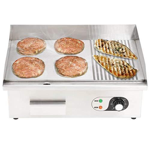 Festnight- Plancha Eléctrica de Cocina Potencia de 3000 W 54x41x24 cm Cromado