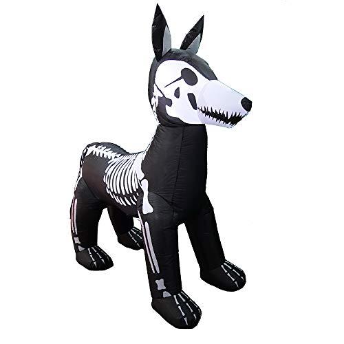 ProductWorks 6' Wide Spooky Town Skeleton Yard Art Décor Inflatable Halloween Display, Dog Bones