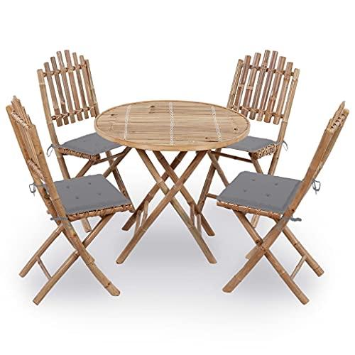 vidaXL Gartenmöbel 5-TLG. mit Kissen Klappbar Sitzgruppe Gartengarnitur Sitzgarnitur Gartenset Tisch Stühle Esstisch Gartentisch Bambus