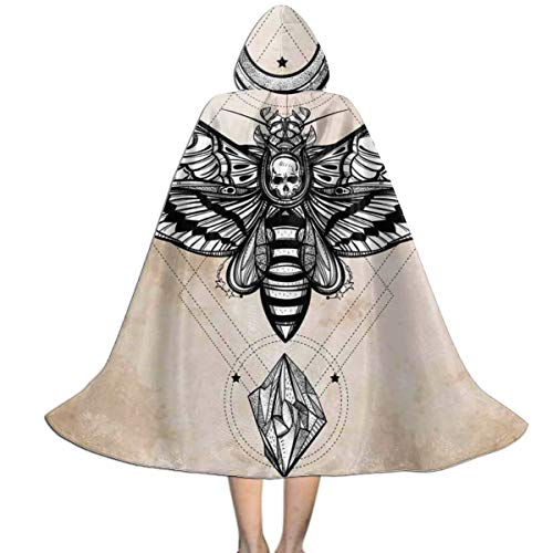 Qbahoe Kids Cape Cloak With Hood Dead Skull Head Hawk Moth Luna Stone Cloak Cape For Halloween Christmas Party Cosplay Costumes Witch Capes For Boys Girls Wantitall