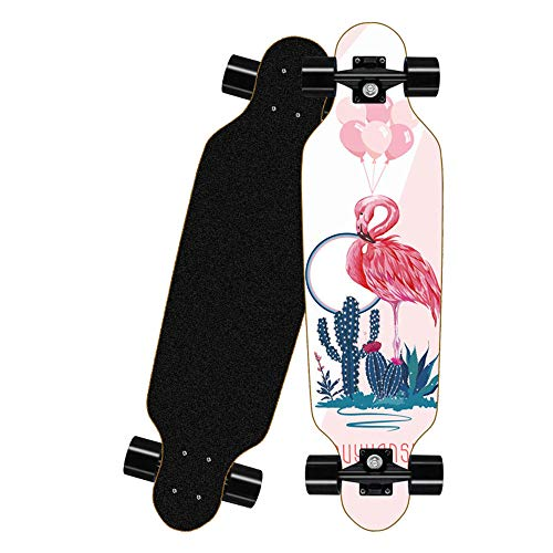 KHSKX Longboard Skateboard, Erwachsenen-Skateboard für Anfänger, Sport-Skateboard und Teenager, Mädchen, Jungen, Erwachsene-Flamingo-80 * 20 cm