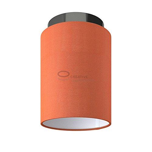 Fermaluce: wand- of plafondspot in zwart parel metaal met kreeft Cinette Cilinder Lampenkap Ø 15 cm h18 cm