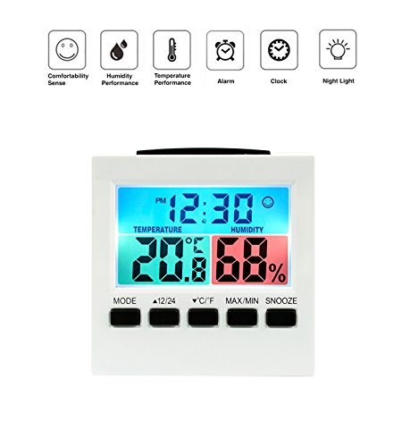 Enjoy Best Time Indoor Humidity Monitor Hygrometer -Digital Thermometer Monitor- Home Weather Station Night Light Alarm Clock with Colorful LCD Display