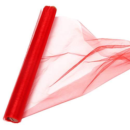 Supvox Gaze Vorhang Drapieren Hochzeit Sheer für Hochzeitsstrauß Dekoration DIY Kleidung 10 mt 1 STÜCK (Rot)