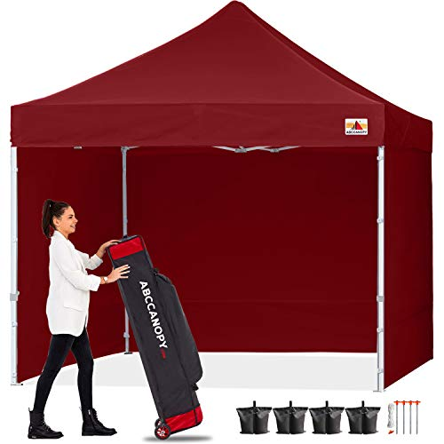 ABCCANOPY Gazebo Pop Up Commercial Gazebo Tent with Side Walls Instant Shade, Bonus Upgrade Roller Bag, 4 Weight Bags, Stakes and Ropes,Burgundy